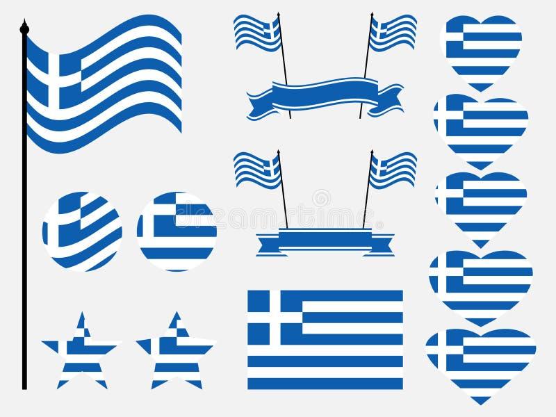 Sistema de la bandera de Grecia Colección de símbolos, bandera en corazón Botón y estrella Vector libre illustration