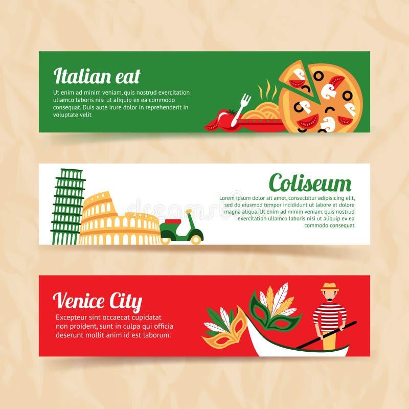 Sistema de la bandera de Italia ilustración del vector
