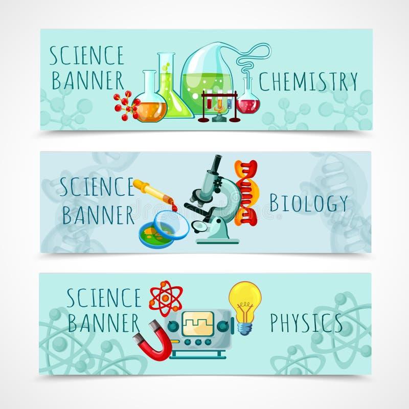 Sistema de la bandera de la ciencia ilustración del vector