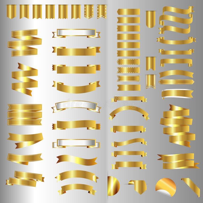 Sistema de la bandera de la cinta Cintas de oro Ilustración del vector ilustración del vector