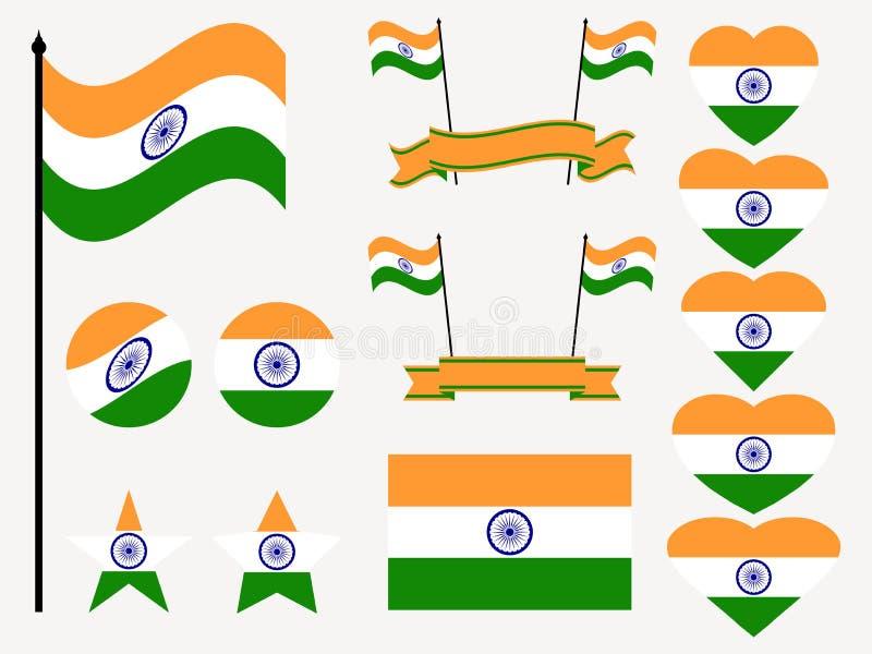 Sistema de la bandera de la India Colección de símbolos, bandera en corazón Vector libre illustration