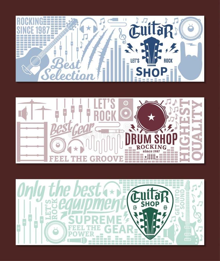 Sistema de la bandera de la tienda de la guitarra y del tambor del vector ilustración del vector