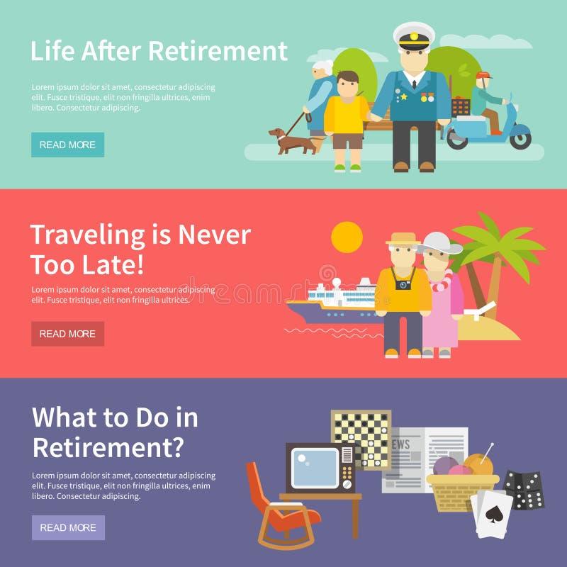 Sistema de la bandera de la vida de los pensionistas stock de ilustración