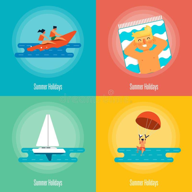 Sistema de la bandera de las vacaciones de verano Actividades de la playa ilustración del vector