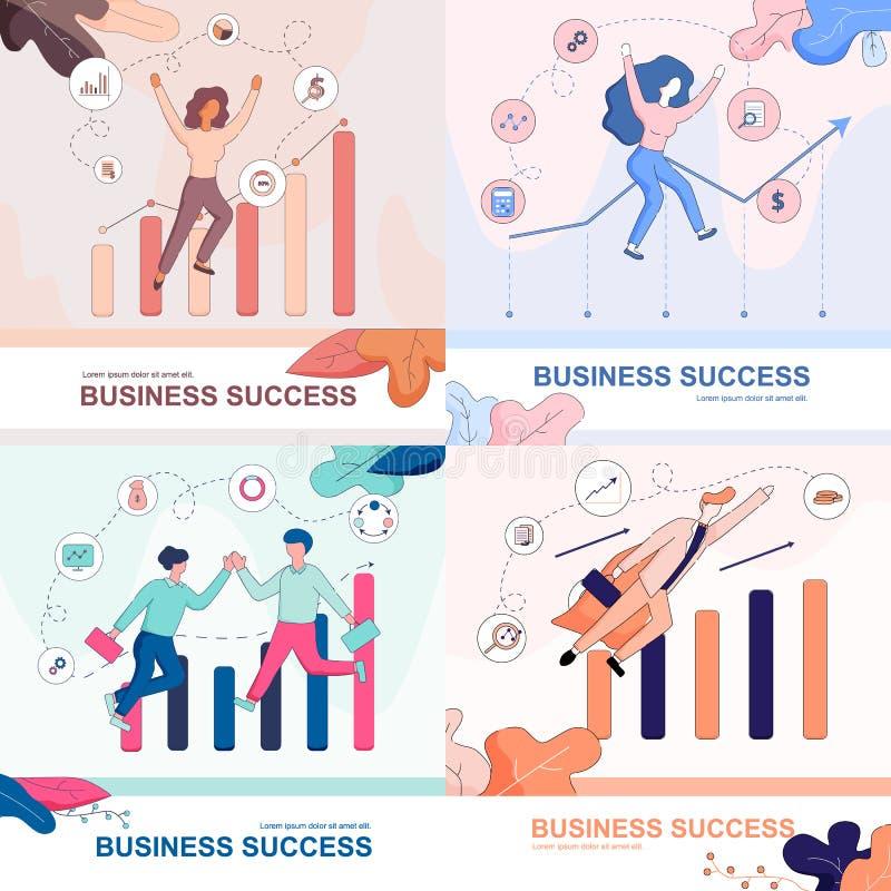 Sistema de la bandera del éxito empresarial Empresarios felices ilustración del vector
