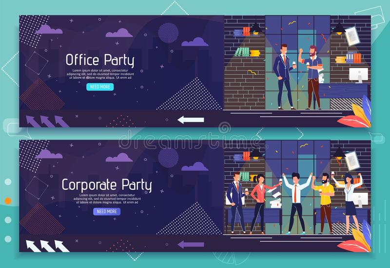 Sistema de la bandera del anuncio del acontecimiento de las fiestas en la oficina y de la celebración stock de ilustración