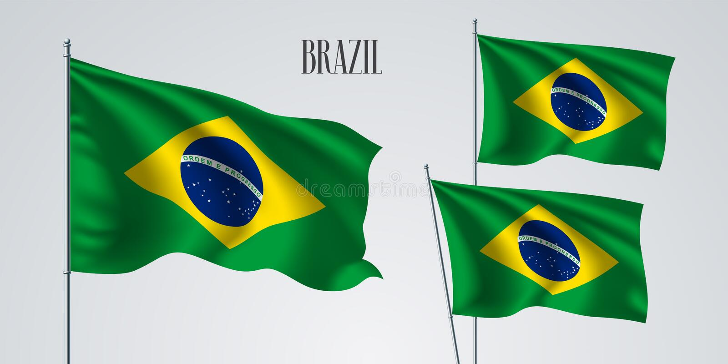 Sistema de la bandera del Brasil que agita del ejemplo del vector libre illustration