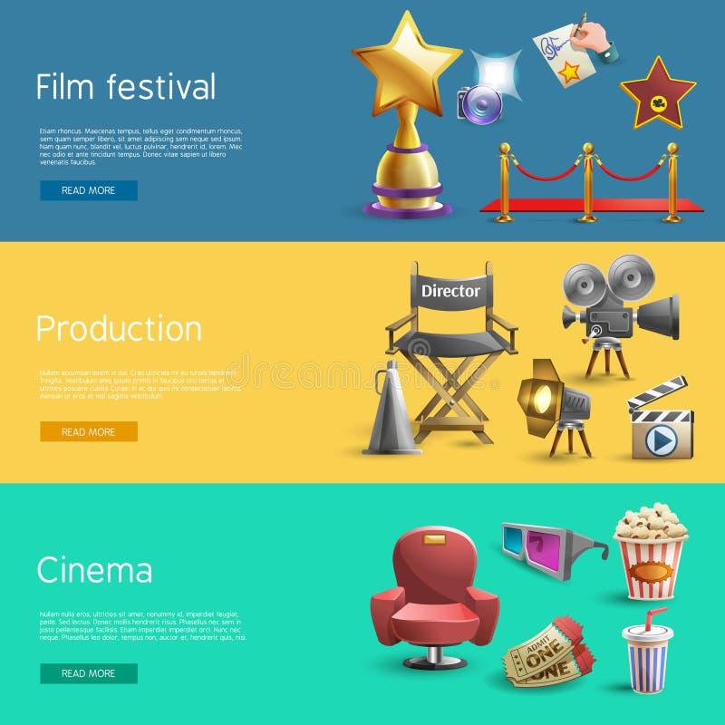 Sistema de la bandera del cine stock de ilustración