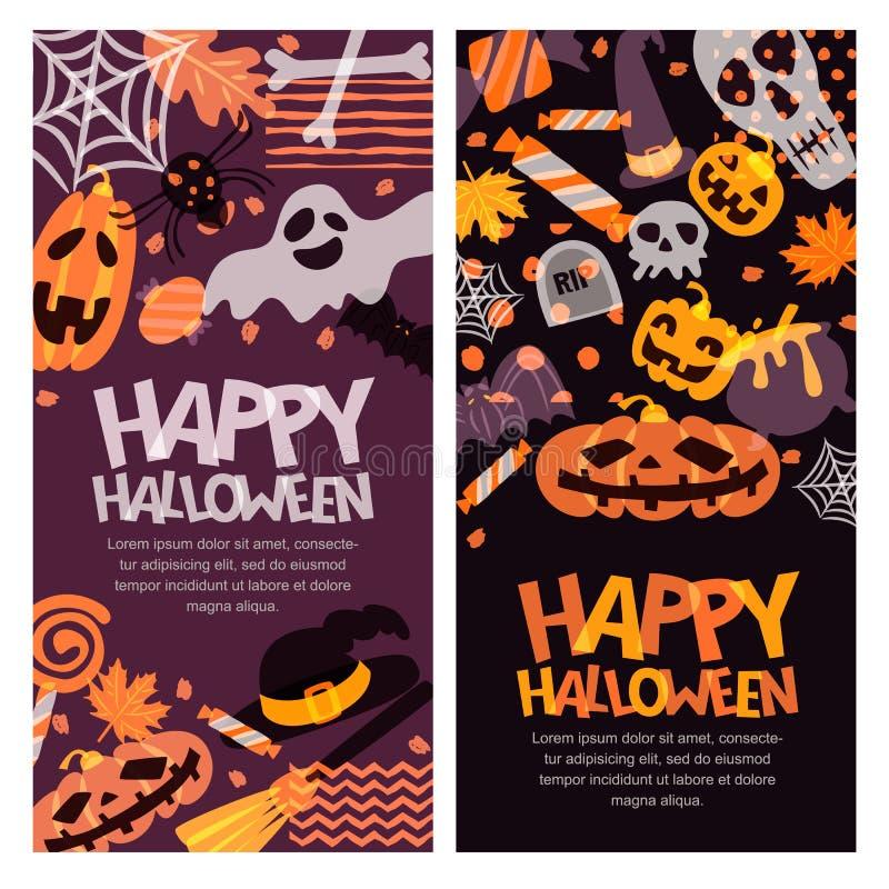 Sistema de la bandera del feliz Halloween Calabaza dibujada mano del garabato, cráneo, sombrero de la bruja, huesos, caramelos, f ilustración del vector