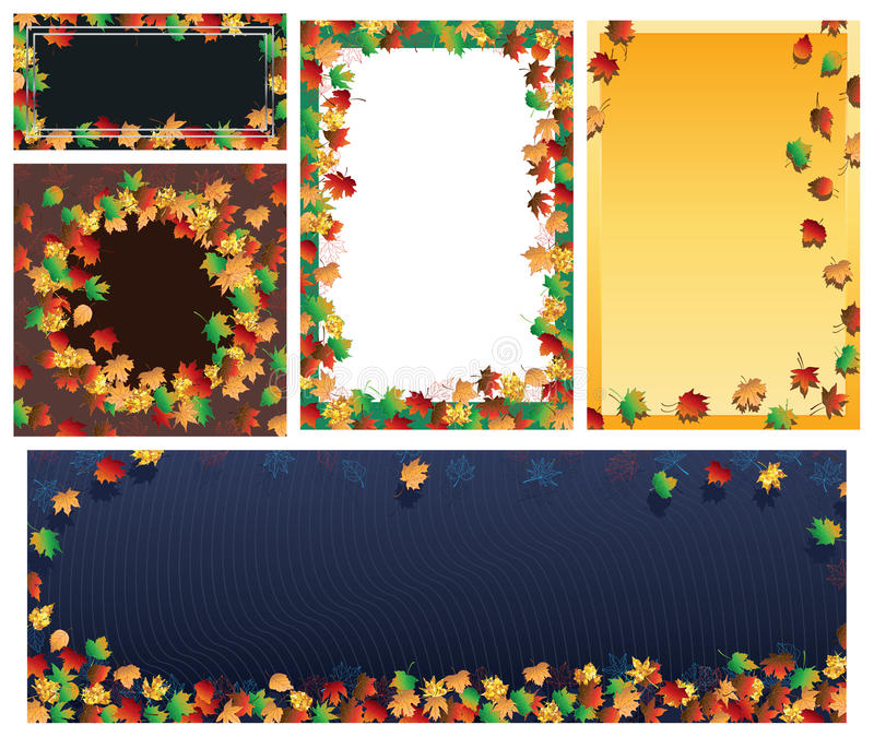 Sistema de la bandera del marco de la hoja del otoño ilustración del vector