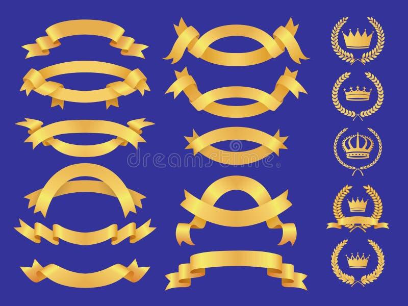 Sistema de la bandera del oro stock de ilustración