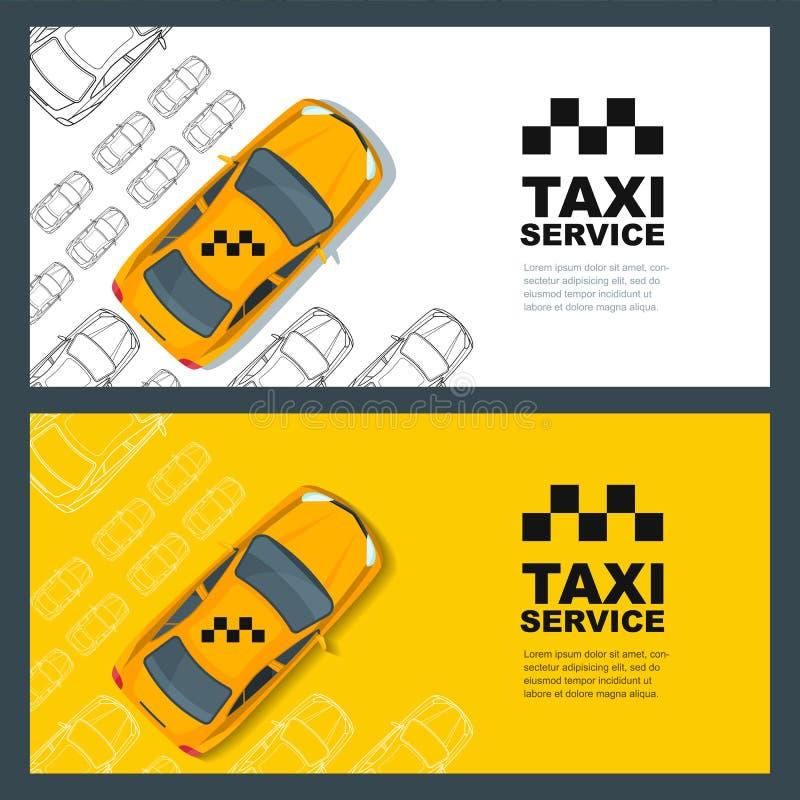 Sistema de la bandera del servicio del taxi, aviador, plantilla del diseño del cartel Concepto del taxi de la llamada stock de ilustración
