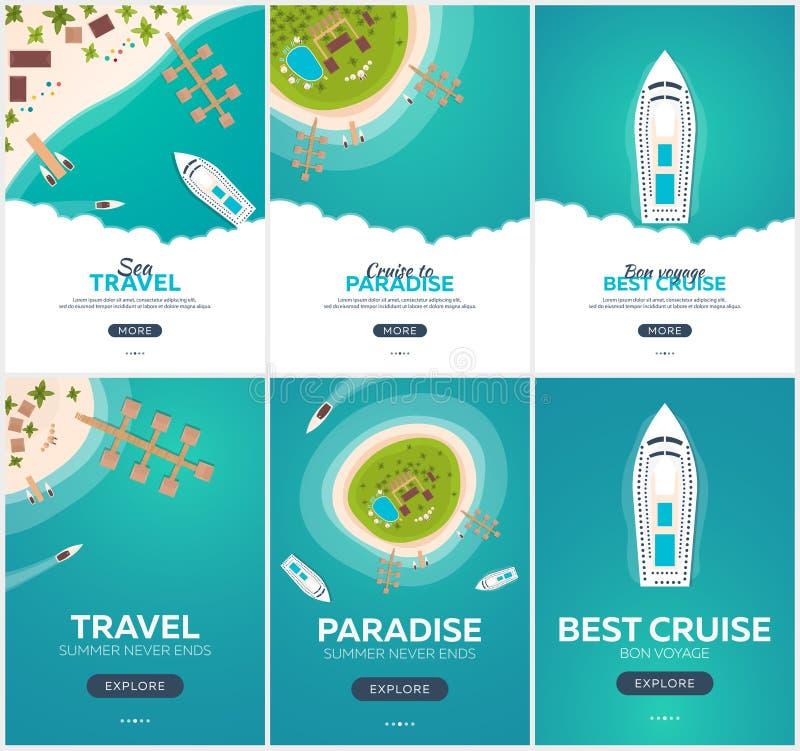 Sistema de la bandera del viaje del verano Viaje por mar Adultos jovenes Hola verano Travesía al paraíso Playa, mar y nave ilustración del vector