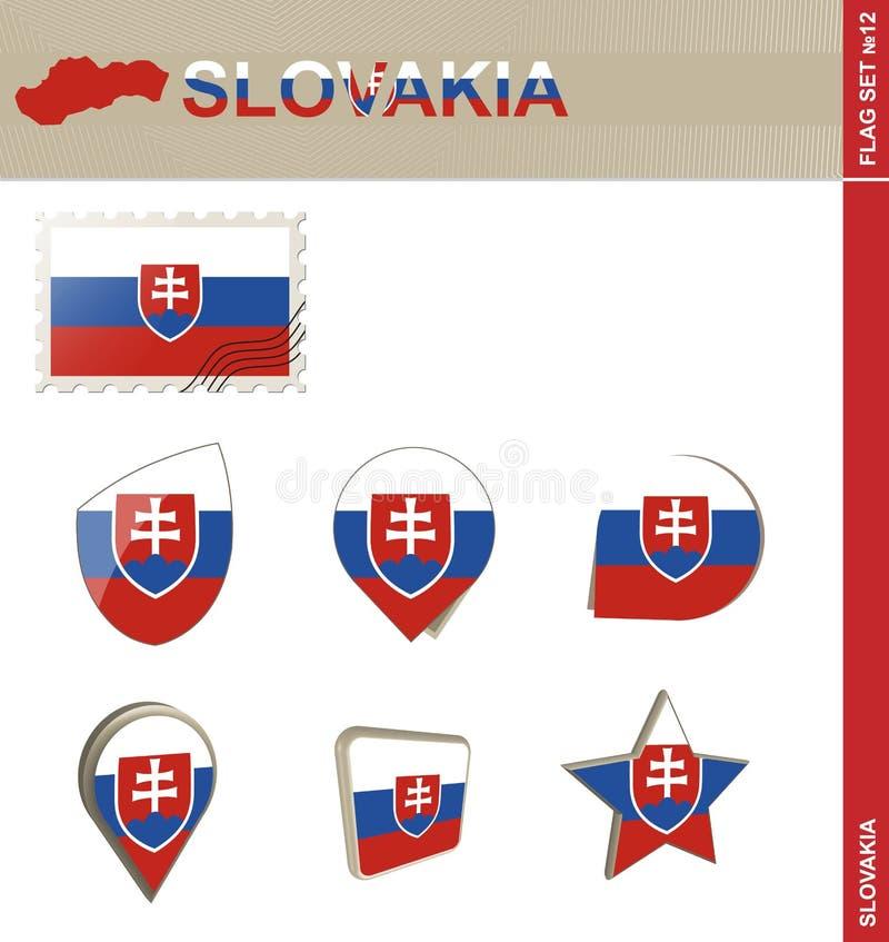 Sistema de la bandera de Eslovaquia, sistema #12 de la bandera stock de ilustración