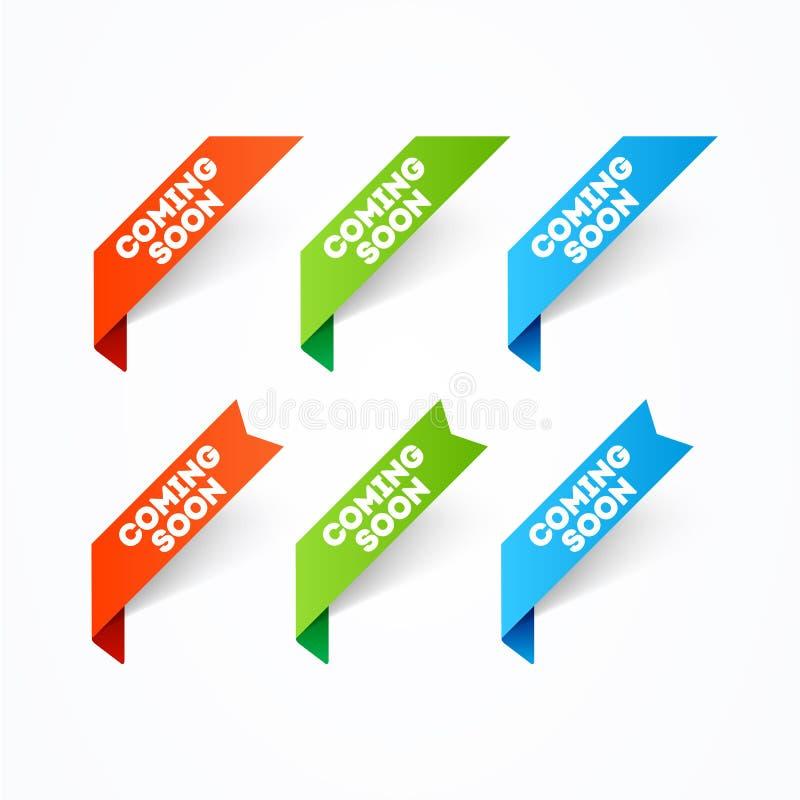 Sistema de la bandera de la esquina del ejemplo del vector que viene pronto stock de ilustración