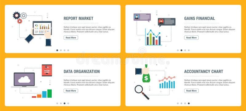 Sistema de la bandera de Internet de iconos del informe, de la contabilidad y de la organización stock de ilustración