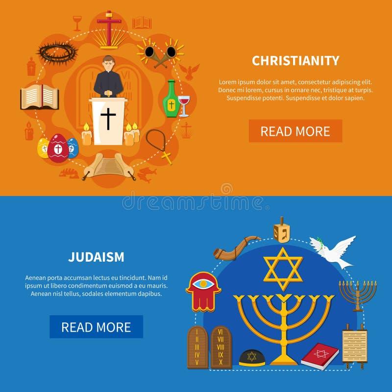 Sistema de la bandera de las religiones stock de ilustración