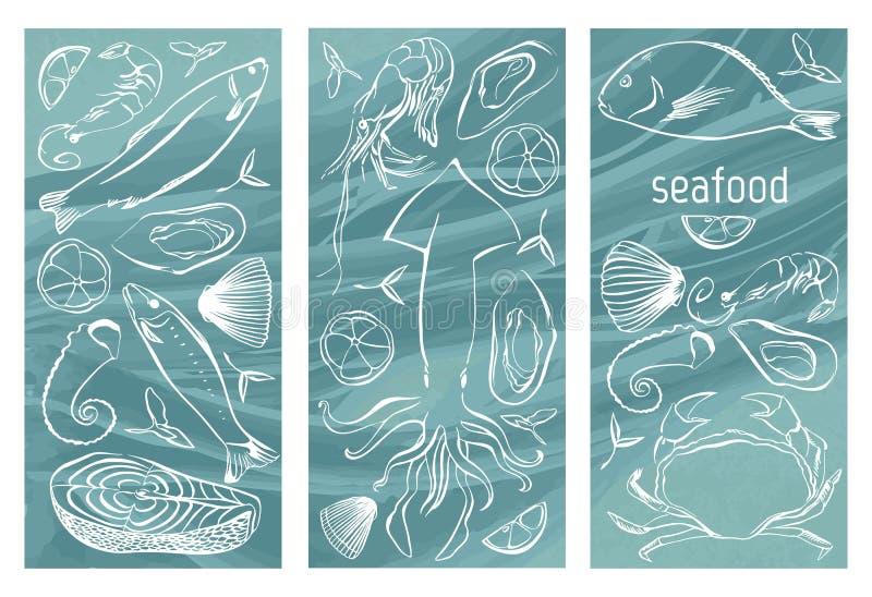 Sistema de la bandera de los mariscos Ilustración drenada mano del vector El diseño de la plantilla se puede utilizar para la ban ilustración del vector