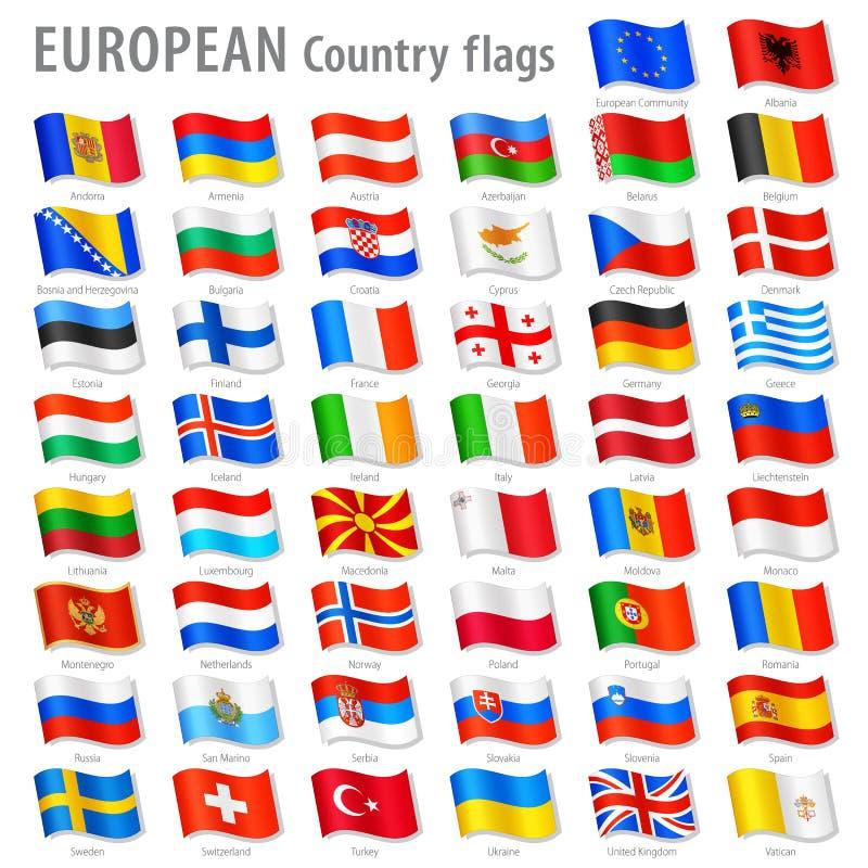Sistema de la bandera nacional de Europa del vector libre illustration