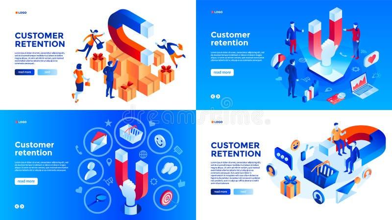 Sistema de la bandera de la retención del cliente, estilo isométrico stock de ilustración