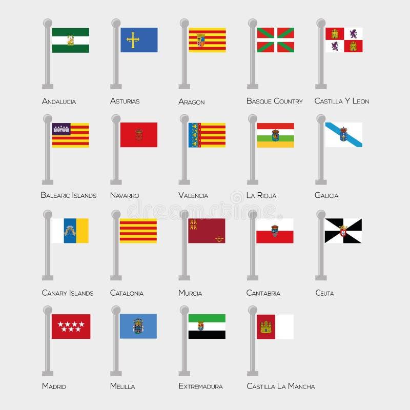 Sistema de la bandera de todos los provices espa?oles Colecci?n del vector ilustración del vector