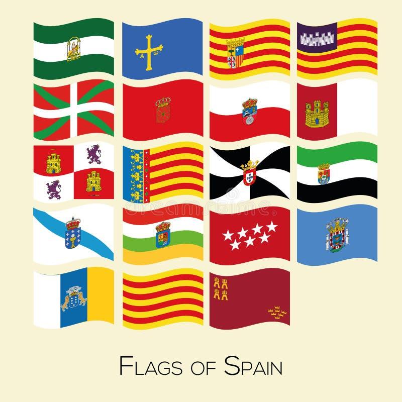 Sistema de la bandera de todos los provices espa?oles Colecci?n del vector stock de ilustración