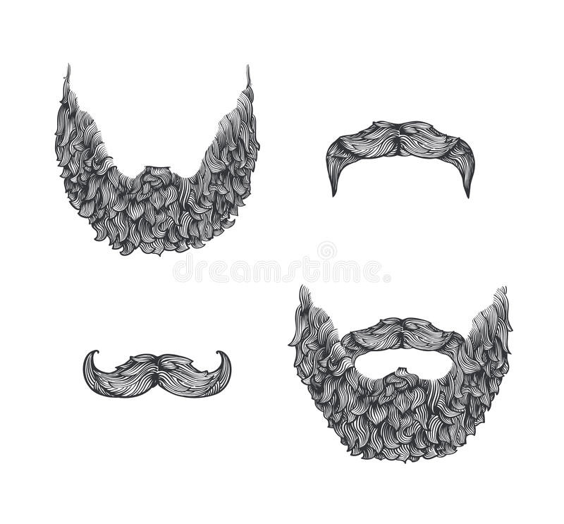 Sistema de la barba ilustración del vector