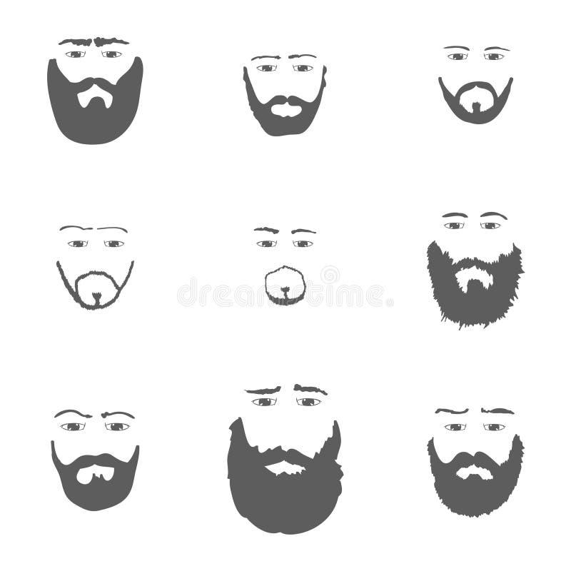 Sistema de la barba en el vector blanco del fondo stock de ilustración