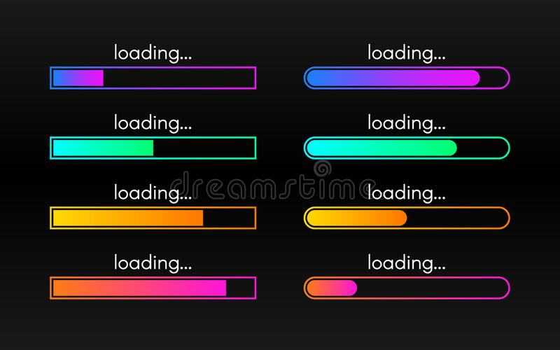 Sistema de la barra de cargamento en el contexto oscuro Visualización del progreso L?neas de la pendiente del color Colección car libre illustration