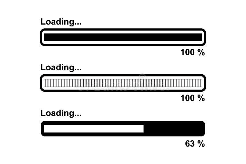 Sistema de la barra de cargamento, negro aislado en el fondo blanco, ejemplo del vector libre illustration