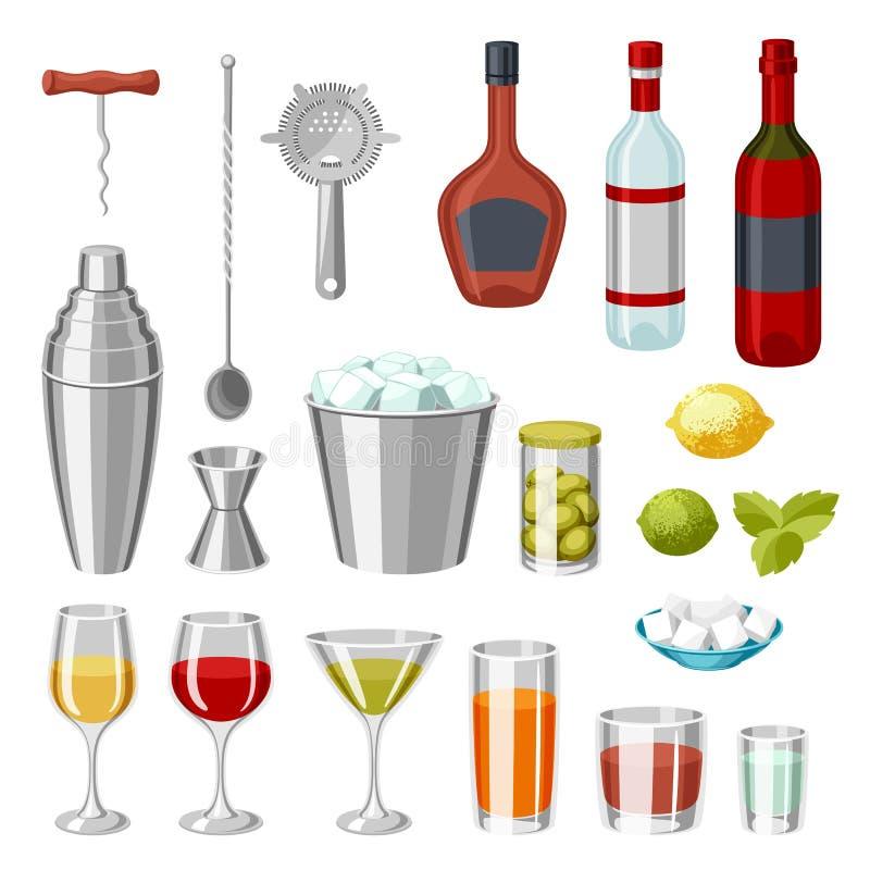 Sistema de la barra del cóctel Las herramientas esenciales, cristalería, mezcladores y adornan ilustración del vector