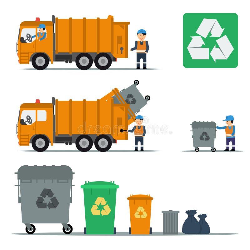 Sistema de la basura de trabajadores de los camiones y de compartimientos de basura libre illustration