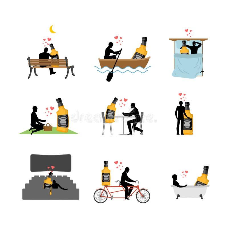 Sistema de la bebida del alcohol del amante Hombre y whisky en cine amante libre illustration
