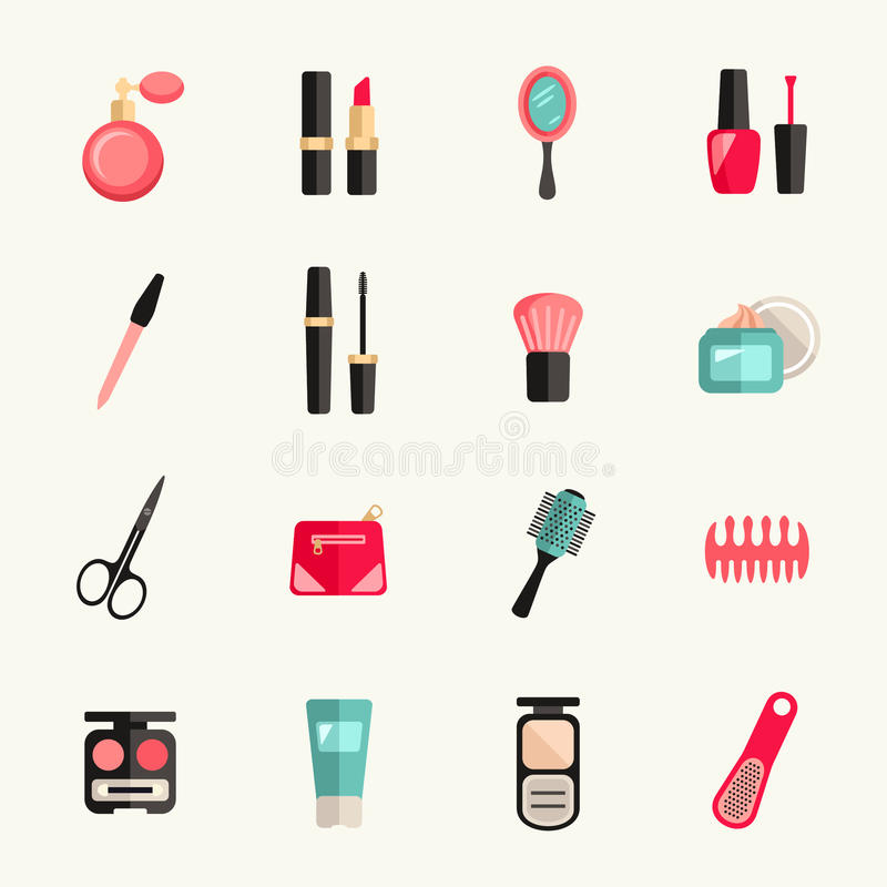 Sistema de la belleza y del icono del maquillaje Ilustración del vector libre illustration