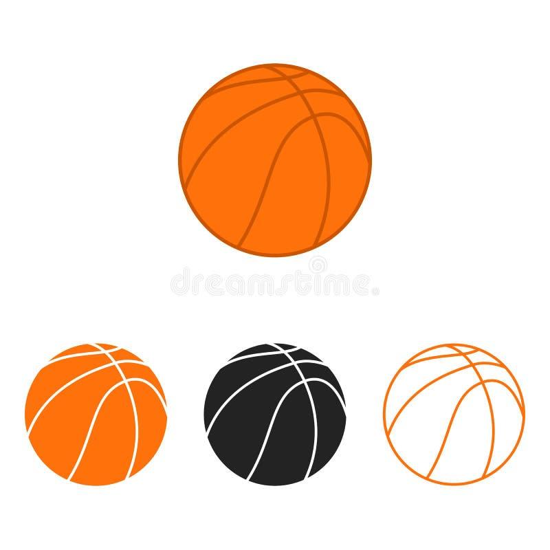 Sistema de la bola del baloncesto Siluetas del vector de las bolas de un baloncesto ilustración del vector