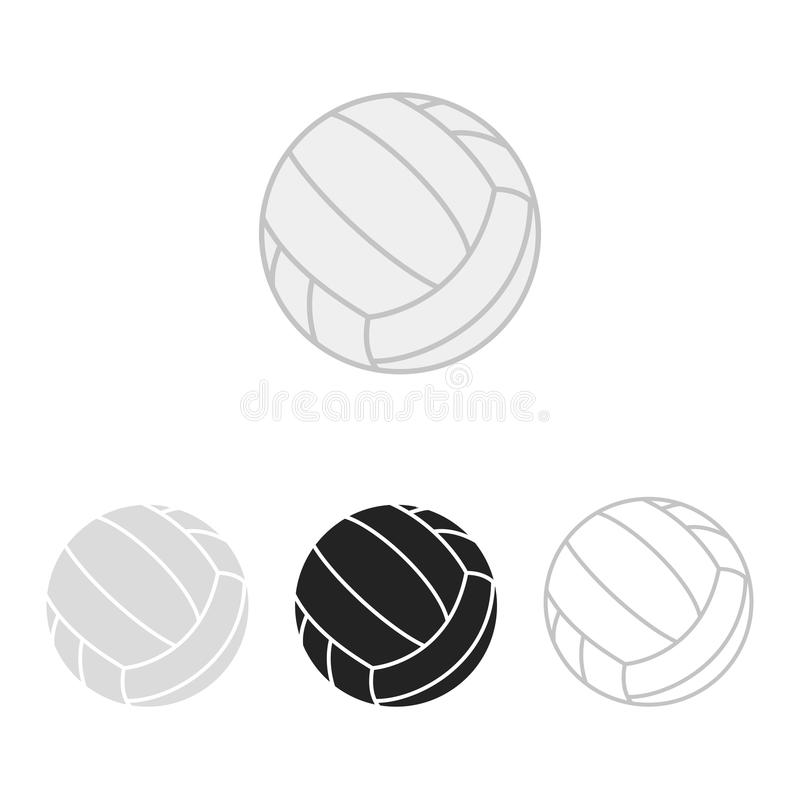 Sistema de la bola del voleibol Siluetas del vector de las bolas de un voleibol Iconos aislados en el fondo blanco Colección plan ilustración del vector