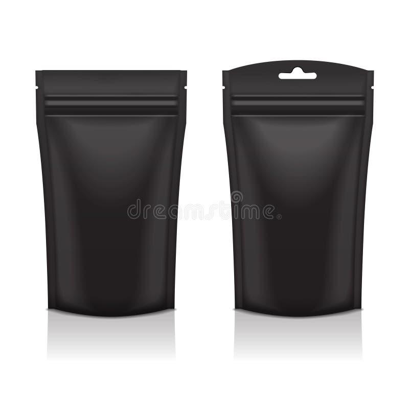Sistema de la bolsa negra en blanco del paquete de Doy de la comida o del cosmético de la hoja libre illustration