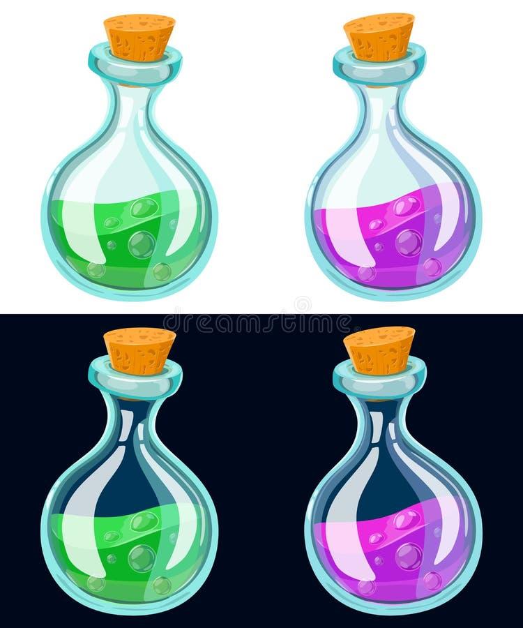 Sistema de la botella de la poción de la historieta Frascos de cristal con los líquidos coloridos aislados en fondo ilustración del vector