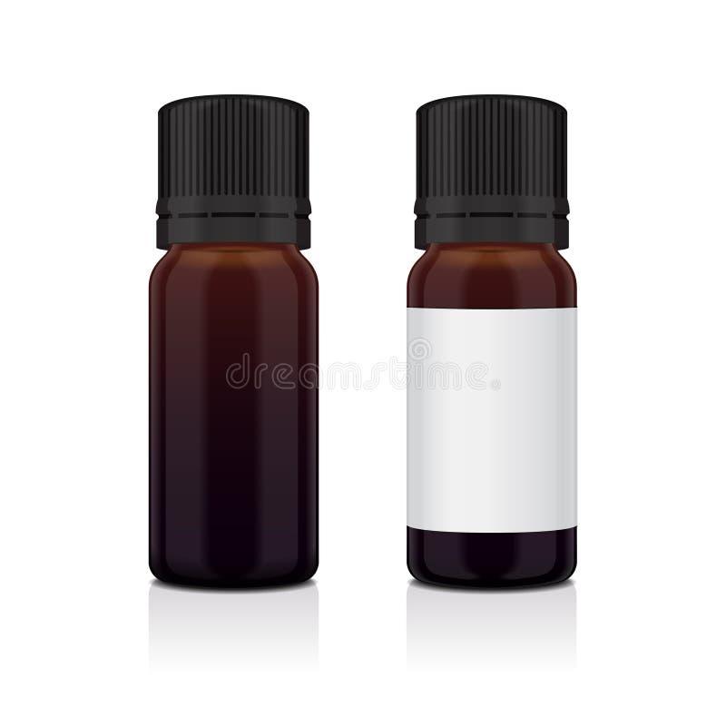 Sistema de la botella realista del marrón del aceite esencial Imite encima del cosmético o del frasco médico, frasco, ejemplo de  stock de ilustración