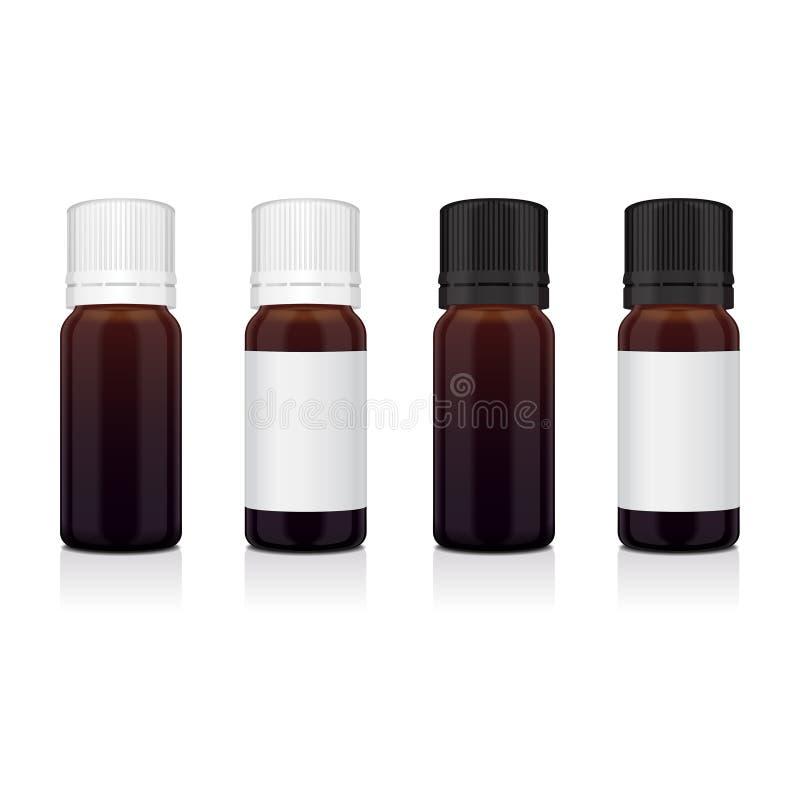 Sistema de la botella realista del marrón del aceite esencial Imite encima del cosmético o del frasco médico, frasco, ejemplo de  ilustración del vector