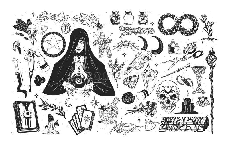 Sistema de la brujería - bruja o encantadora y artículos místicos para la mano de la hechicería, del encantamiento, de la astrolo ilustración del vector