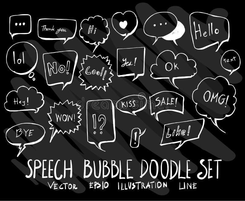 Sistema de la burbuja de la colección del dibujo del garabato del vector en backgrou negro libre illustration