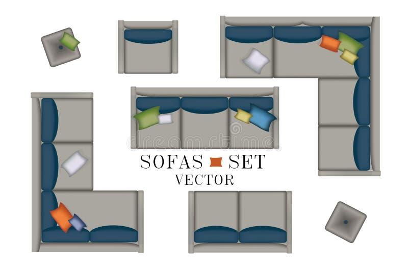 Sistema de la butaca de los sofás Muebles, taburete, alfombra, TV, plantas, tabla lateral para su diseño interior Ejemplo plano d imágenes de archivo libres de regalías