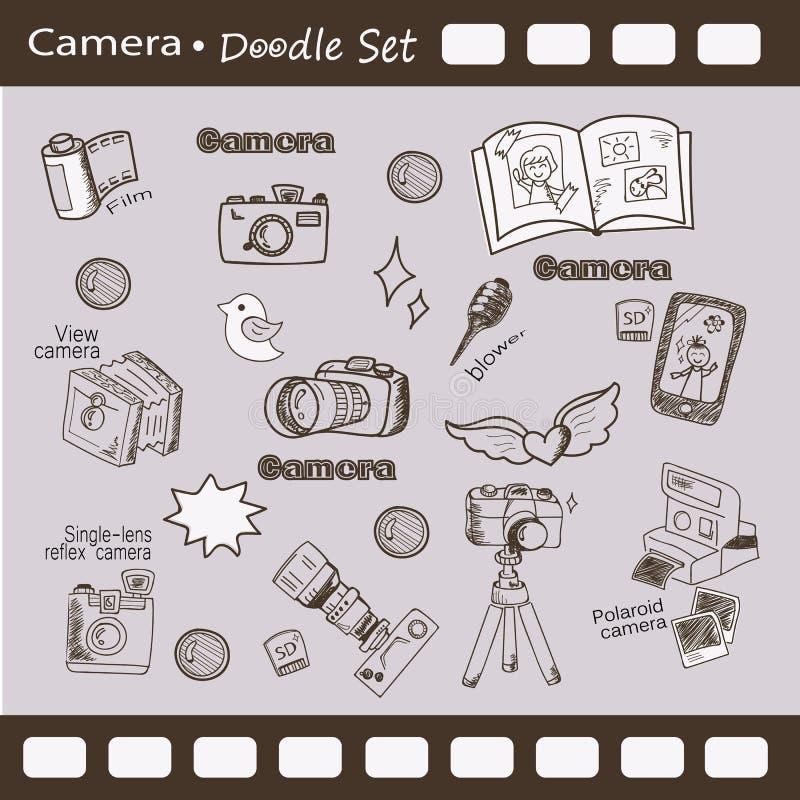 Sistema de la cámara del garabato ilustración del vector