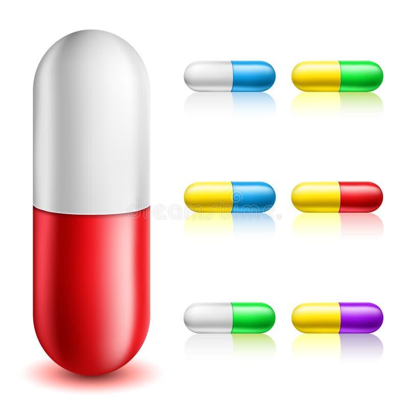 Sistema de la cápsula de la píldora ilustración del vector