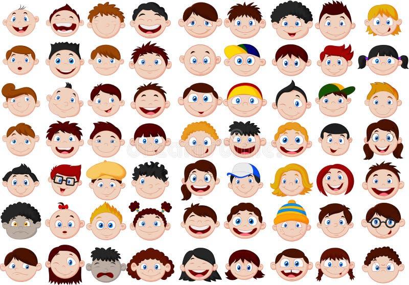 Sistema de la cabeza de los niños de la historieta stock de ilustración