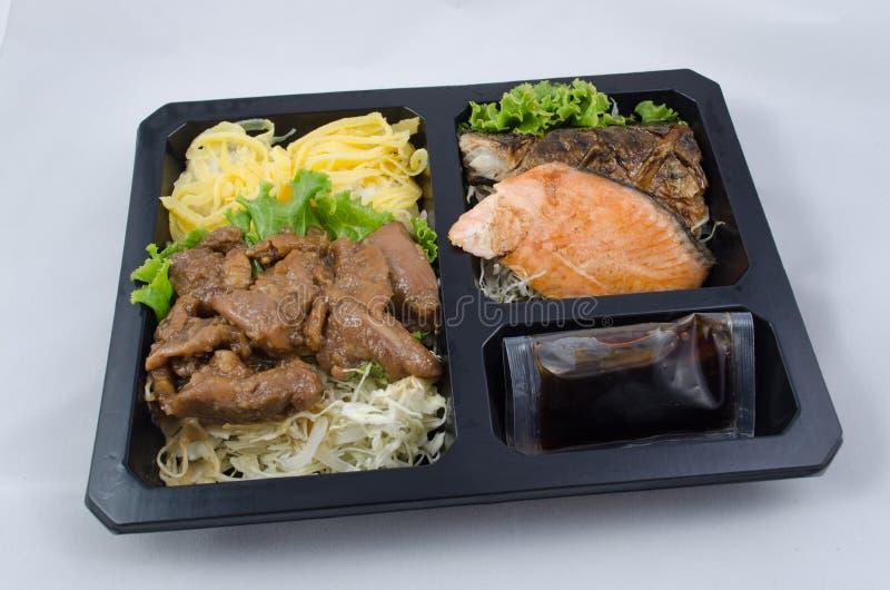 Sistema de la caja de la comida del estilo japonés imagen de archivo libre de regalías