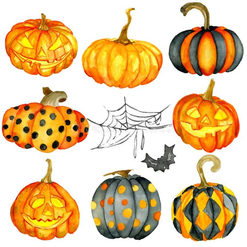 Sistema de la calabaza de Halloween de la acuarela stock de ilustración