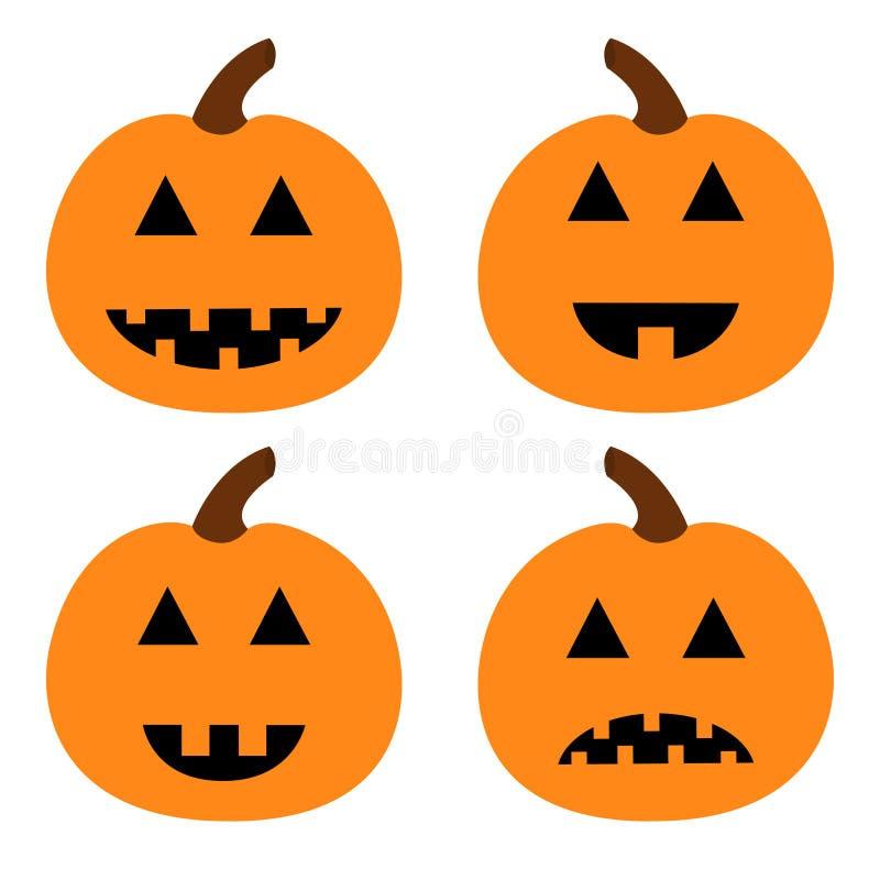 Sistema de la calabaza del feliz Halloween Cara sonriente espeluznante divertida Carácter lindo del bebé de la historieta Tarjeta libre illustration