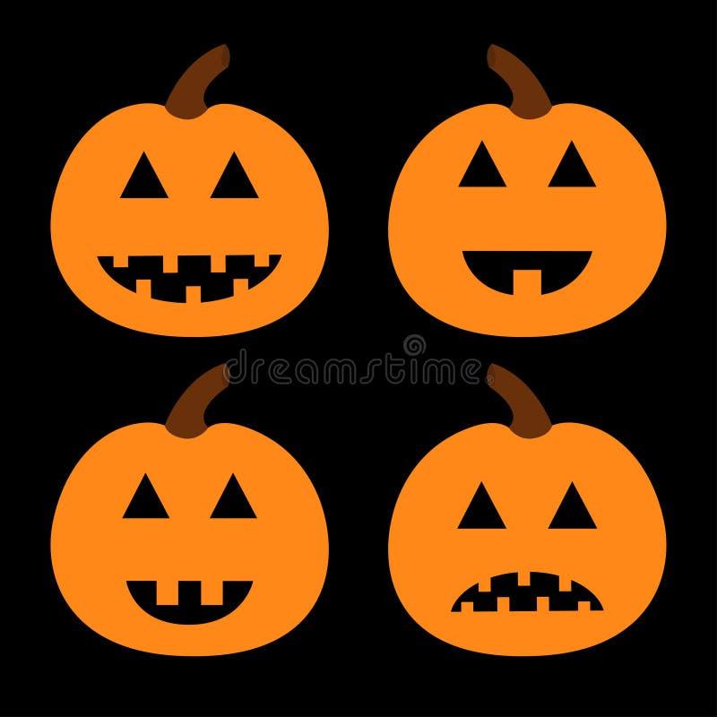 Sistema de la calabaza del feliz Halloween Cara sonriente espeluznante divertida Carácter lindo del bebé de la historieta Tarjeta ilustración del vector